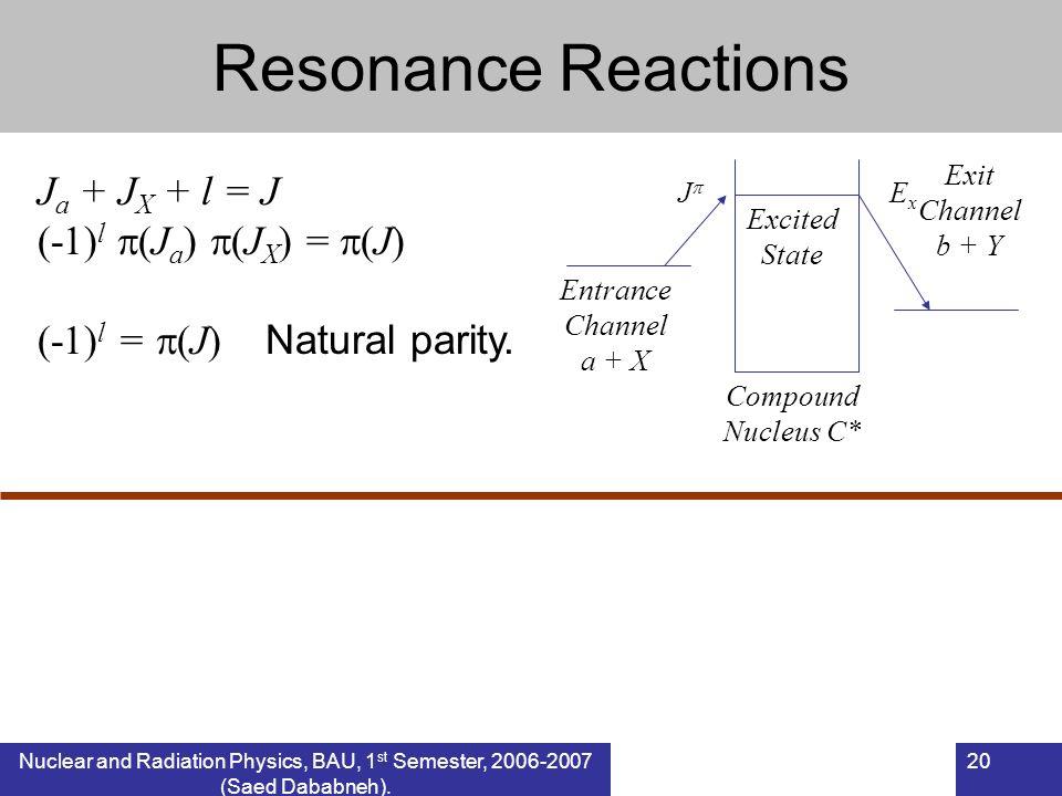 Nuclear and Radiation Physics, BAU, 1 st Semester, 2006-2007 (Saed Dababneh). 20 Resonance Reactions J a + J X + l = J (-1) l (J a ) (J X ) = (J) (-1)
