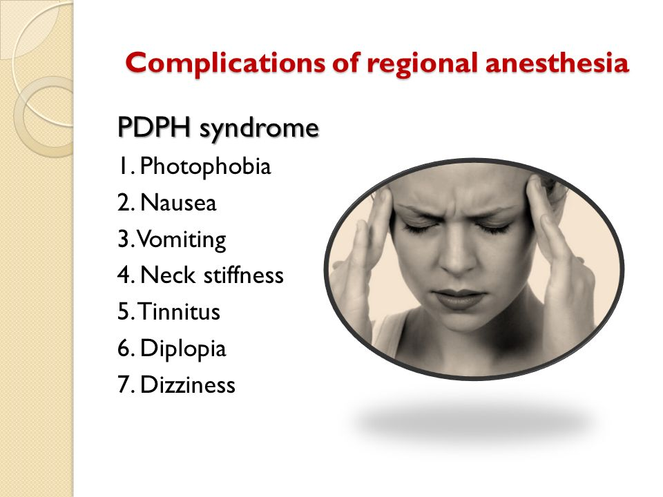 Complications of regional anesthesia PDPH syndrome 1. Photophobia 2. Nausea 3. Vomiting 4. Neck stiffness 5. Tinnitus 6. Diplopia 7. Dizziness