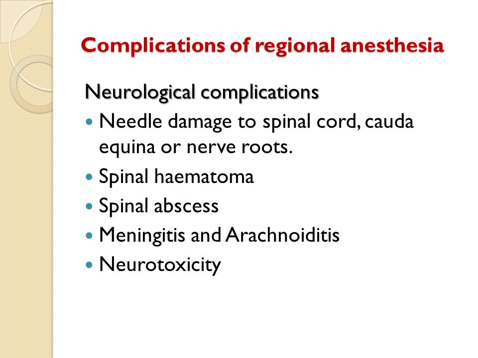 Complications of regional anesthesia Neurological complications Needle damage to spinal cord, cauda equina or nerve roots. Spinal haematoma Spinal abs