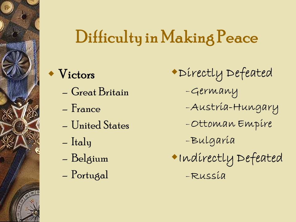 Victors – Great Britain – France – United States – Italy – Belgium – Portugal Difficulty in Making Peace Directly Defeated – Germany – Austria-Hungary