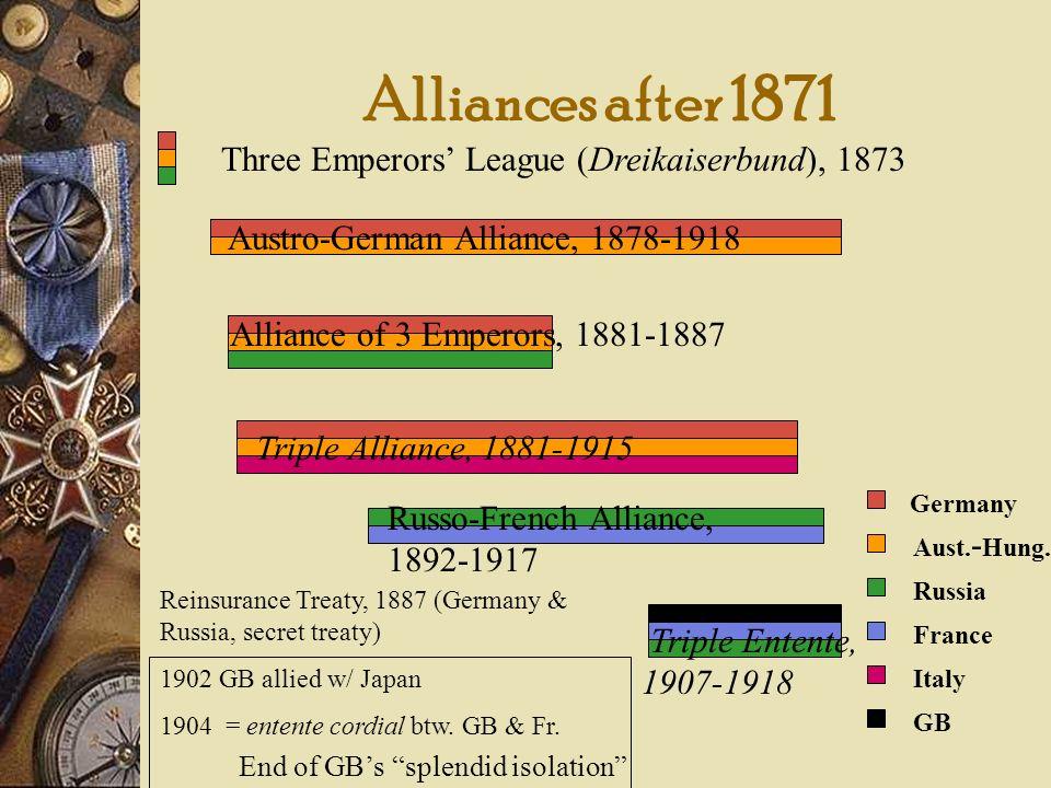 Alliances after 1871 Three Emperors League (Dreikaiserbund), 1873 Austro-German Alliance, 1878-1918 Alliance of 3 Emperors, 1881-1887 Triple Alliance,