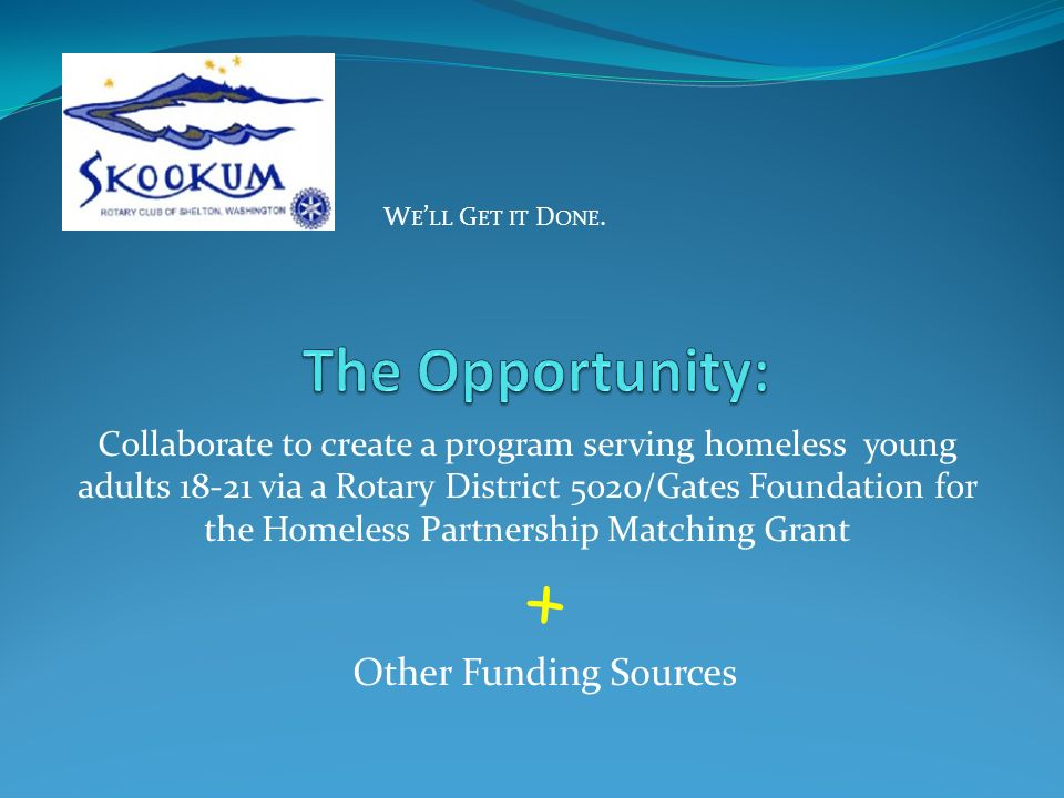 Unite the partners, create a framework for the program, and submit a grant application in W E LL G ET IT D ONE.