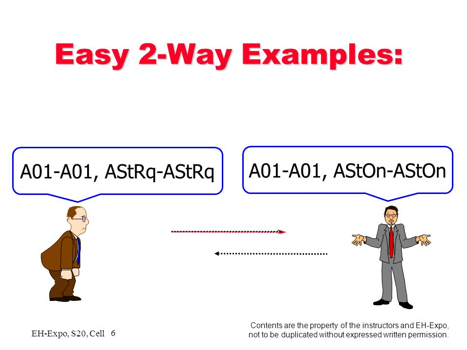 5 5 Contents are the property of the instructors and EH-Expo, not to be duplicated without expressed written permission. EH-Expo, S20, Cell #A 2-Way C