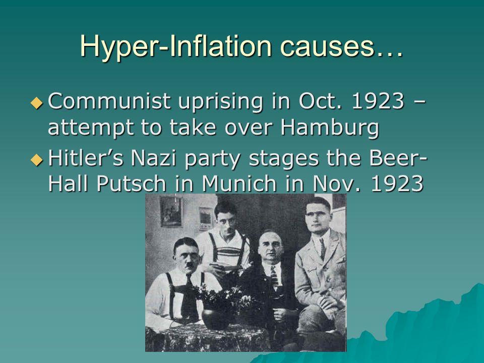 Hyper-Inflation causes… Communist uprising in Oct. 1923 – attempt to take over Hamburg Communist uprising in Oct. 1923 – attempt to take over Hamburg