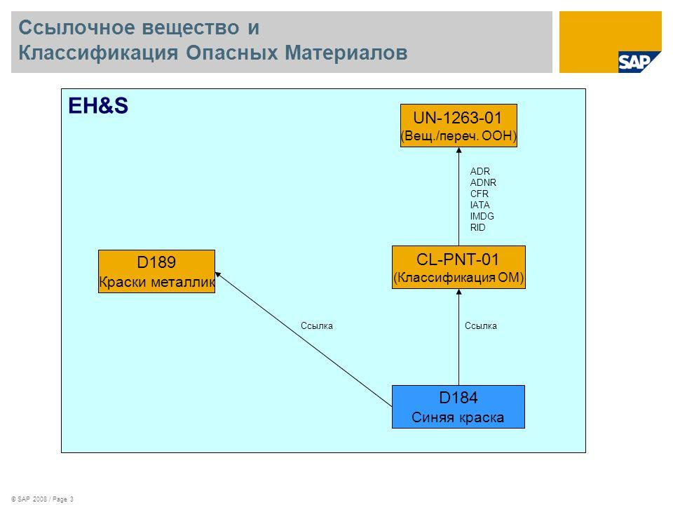 © SAP 2008 / Page 3 Ссылочное вещество и Классификация Опасных Материалов EH&S D184 Синяя краска D189 Краски металлик Ссылка CL-PNT-01 (Классификация