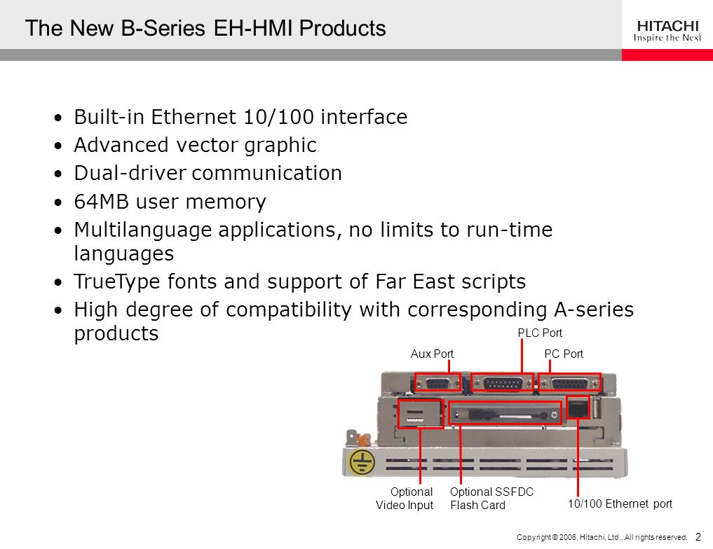 Copyright © 2006, Hitachi, Ltd., All rights reserved. 2 Built-in Ethernet 10/100 interface Advanced vector graphic Dual-driver communication 64MB user