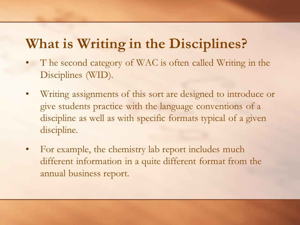What is Writing in the Disciplines.