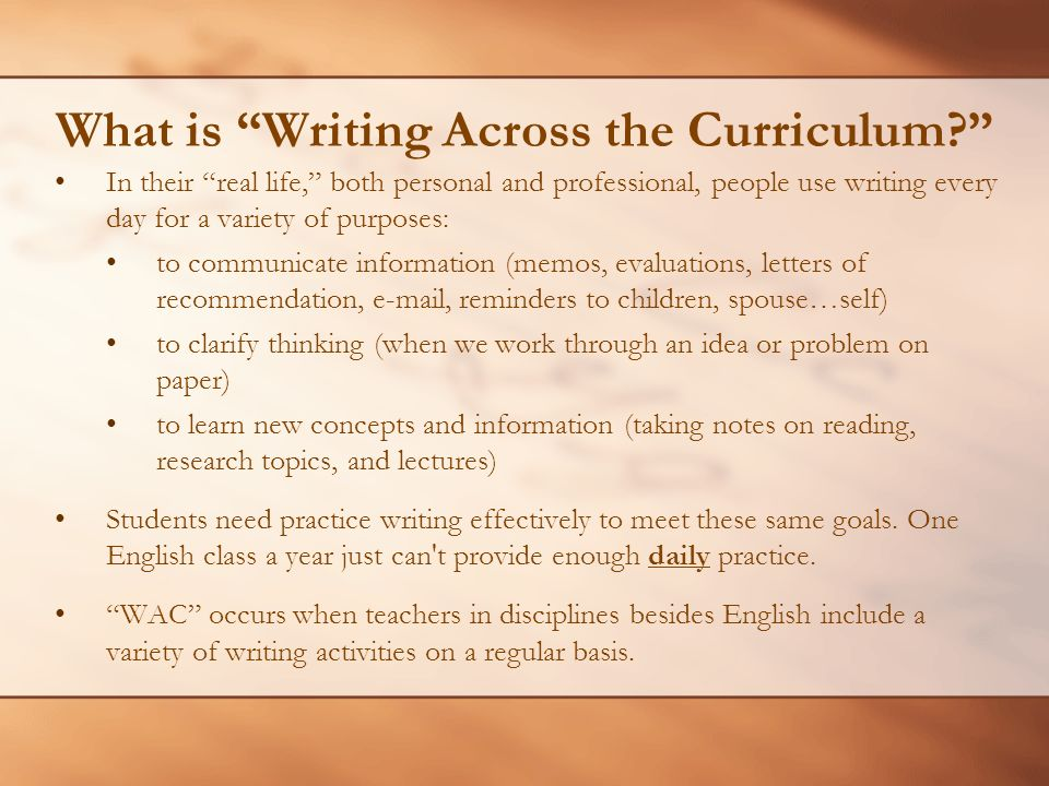 What is Writing Across the Curriculum.