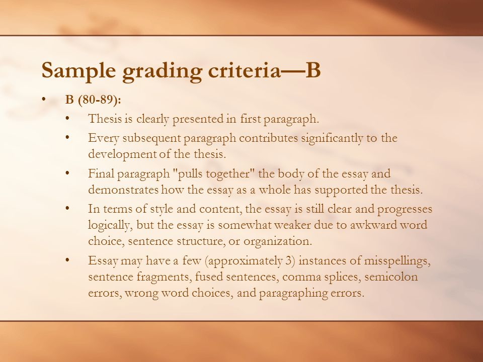 Sample grading criteriaB B (80-89): Thesis is clearly presented in first paragraph.