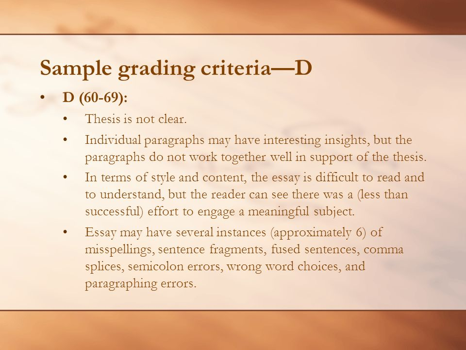 Sample grading criteriaD D (60-69): Thesis is not clear. Individual paragraphs may have interesting insights, but the paragraphs do not work together