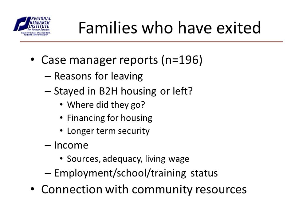 Families who have exited Case manager reports (n=196) – Reasons for leaving – Stayed in B2H housing or left.