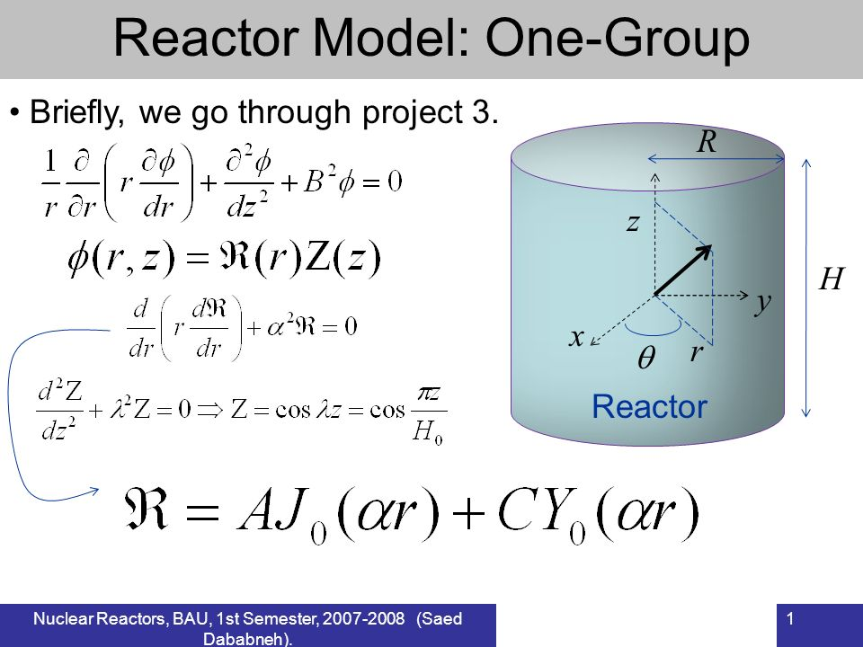 Nuclear Reactors, BAU, 1st Semester, 2007-2008 (Saed Dababneh). 1 Reactor Model: One-Group Reactor R H Briefly, we go through project 3. z x y r