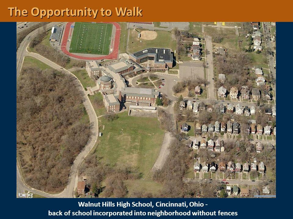 Walnut Hills High School, Cincinnati, Ohio - back of school incorporated into neighborhood without fences The Opportunity to Walk