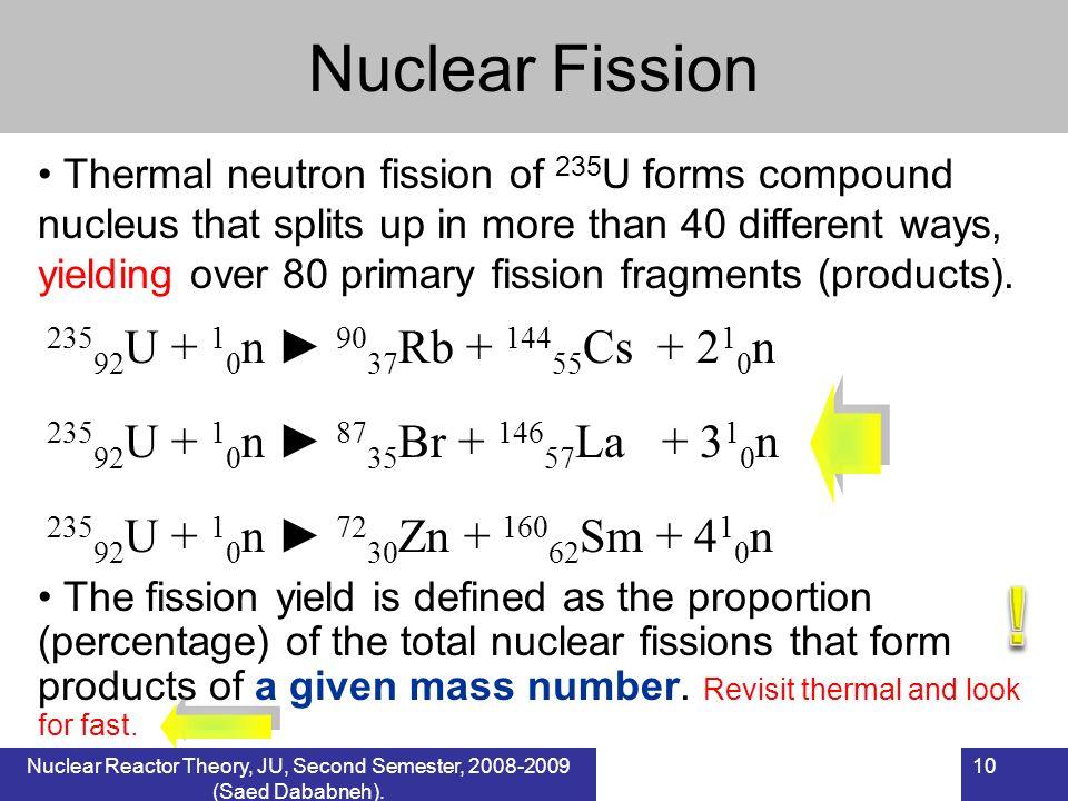 10 Nuclear Fission Nuclear Reactors, BAU, 1 st Semester, 2007-2008 (Saed Dababneh). Thermal neutron fission of 235 U forms compound nucleus that split