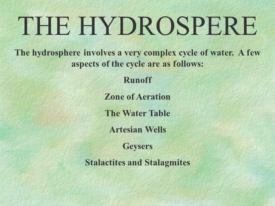 THE HYDROSPERE As you can see, hydrosphere is all around you.