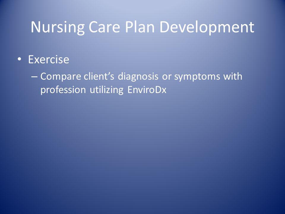 Nursing Care Plan Development Exercise – Compare clients diagnosis or symptoms with profession utilizing EnviroDx