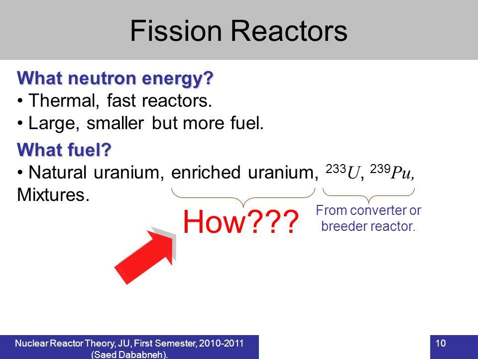 10 Fission Reactors What neutron energy? Thermal, fast reactors. Large, smaller but more fuel. What fuel? Natural uranium, enriched uranium, 233 U, 23