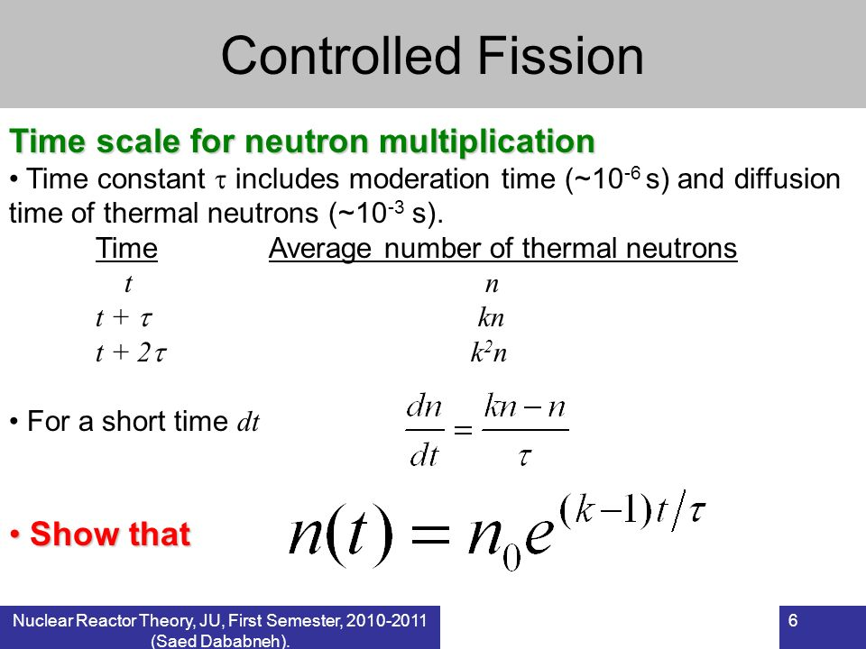 6 Controlled Fission Time scale for neutron multiplication Time constant includes moderation time (~10 -6 s) and diffusion time of thermal neutrons (~