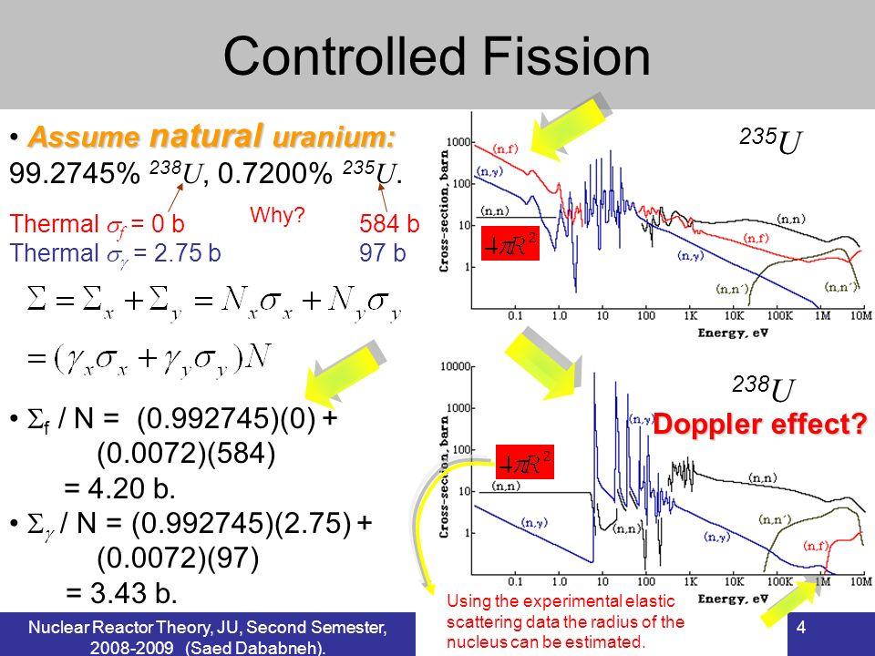 4 Controlled Fission 235 U 238 U Assume natural uranium: 99.2745% 238 U, 0.7200% 235 U. f / N = (0.992745)(0) + (0.0072)(584) = 4.20 b. / N = (0.99274