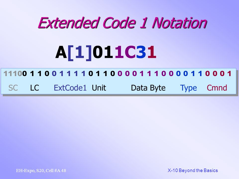 47 X-10 Beyond the Basics EH-Expo, S20, Cell #A Extended Code 1 Notation A[1]011C31 Address A-- X10 notation Extd Code 1 ACT notation Address -01 X10 notation Type 3 = Control Modules (Hex) Data Byte = 28 10 Hex notation Dimmer =Go To value in data byte
