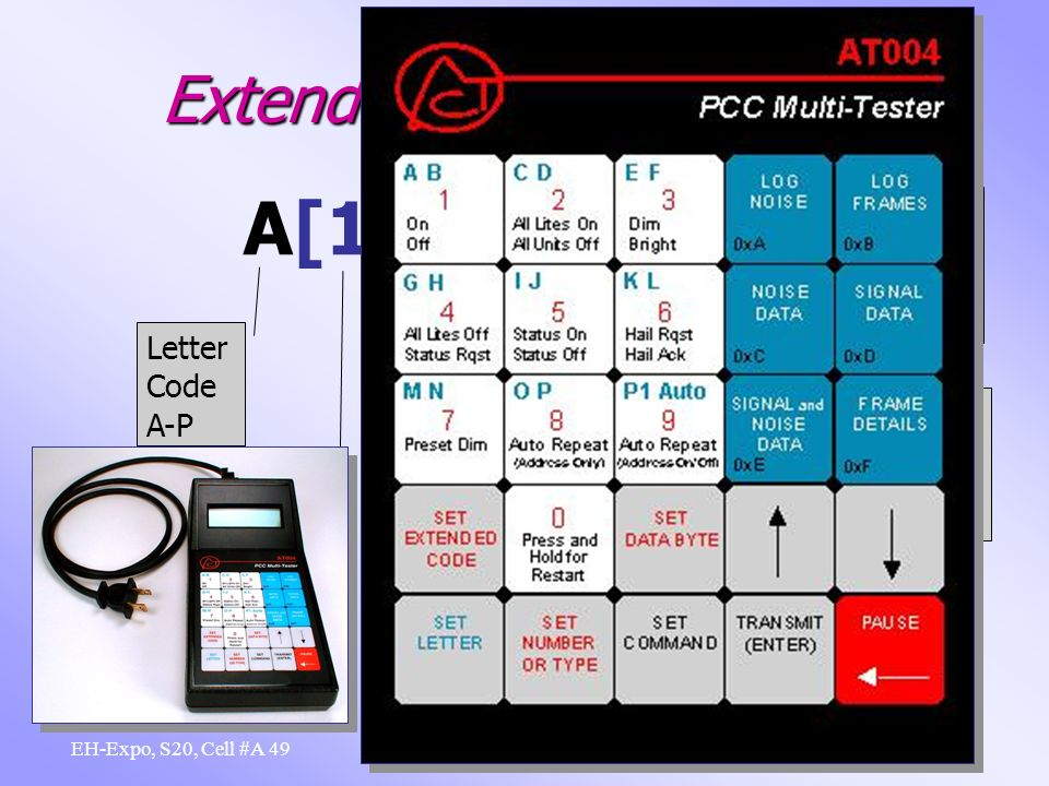 48 X-10 Beyond the Basics EH-Expo, S20, Cell #A Extended Code 1 Notation A[1]011C31 11100 1 1 0 0 1 1 1 1 0 1 1 0 0 0 0 1 1 1 0 0 0 0 1 1 0 0 0 1 SC L