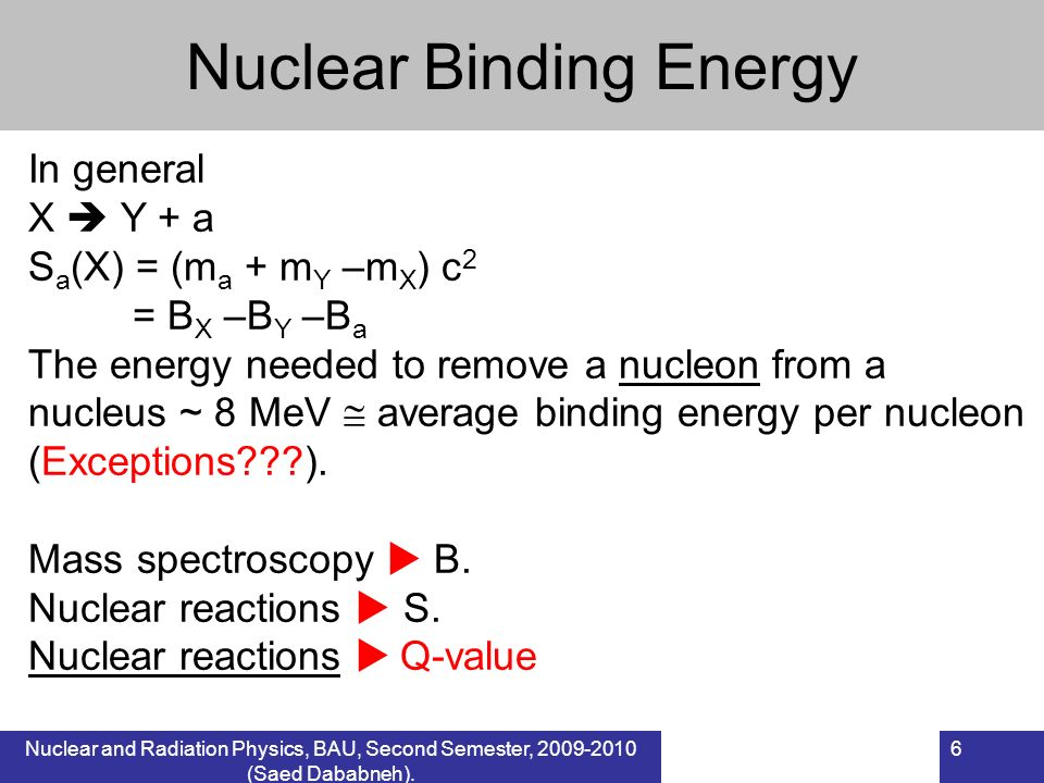 Nuclear and Radiation Physics, BAU, Second Semester, 2009-2010 (Saed Dababneh). 6 Nuclear Binding Energy In general X Y + a S a (X) = (m a + m Y –m X