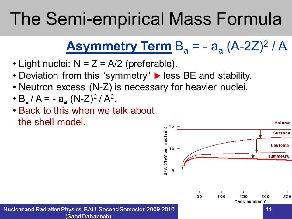 Nuclear and Radiation Physics, BAU, Second Semester, 2009-2010 (Saed Dababneh). 11 The Semi-empirical Mass Formula Light nuclei: N = Z = A/2 (preferab