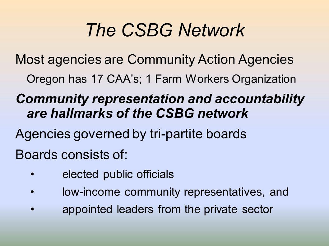 The CSBG Network Most agencies are Community Action Agencies Oregon has 17 CAAs; 1 Farm Workers Organization Community representation and accountabili
