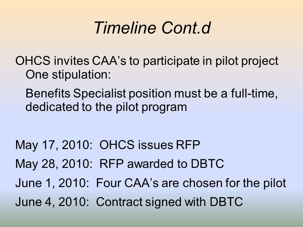 Timeline Cont.d OHCS invites CAAs to participate in pilot project One stipulation: Benefits Specialist position must be a full-time, dedicated to the