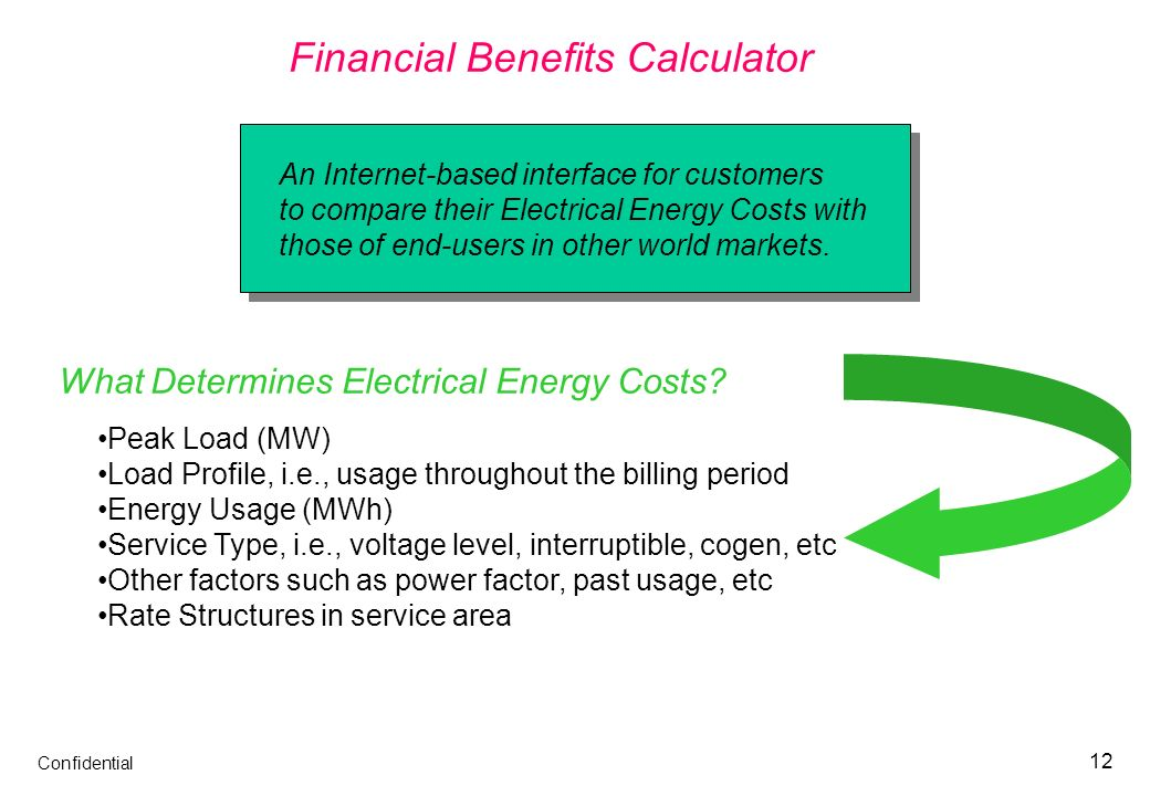 Confidential 12 Financial Benefits Calculator An Internet-based interface for customers to compare their Electrical Energy Costs with those of end-use