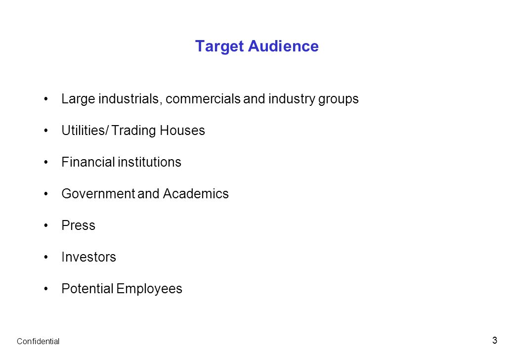 Confidential 3 Target Audience Large industrials, commercials and industry groups Utilities/ Trading Houses Financial institutions Government and Acad