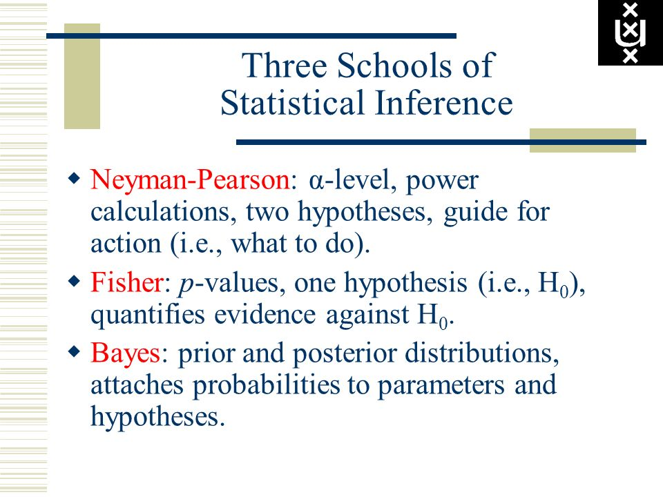 Three Schools of Statistical Inference Neyman-Pearson: α-level, power calculations, two hypotheses, guide for action (i.e., what to do). Fisher: p-val