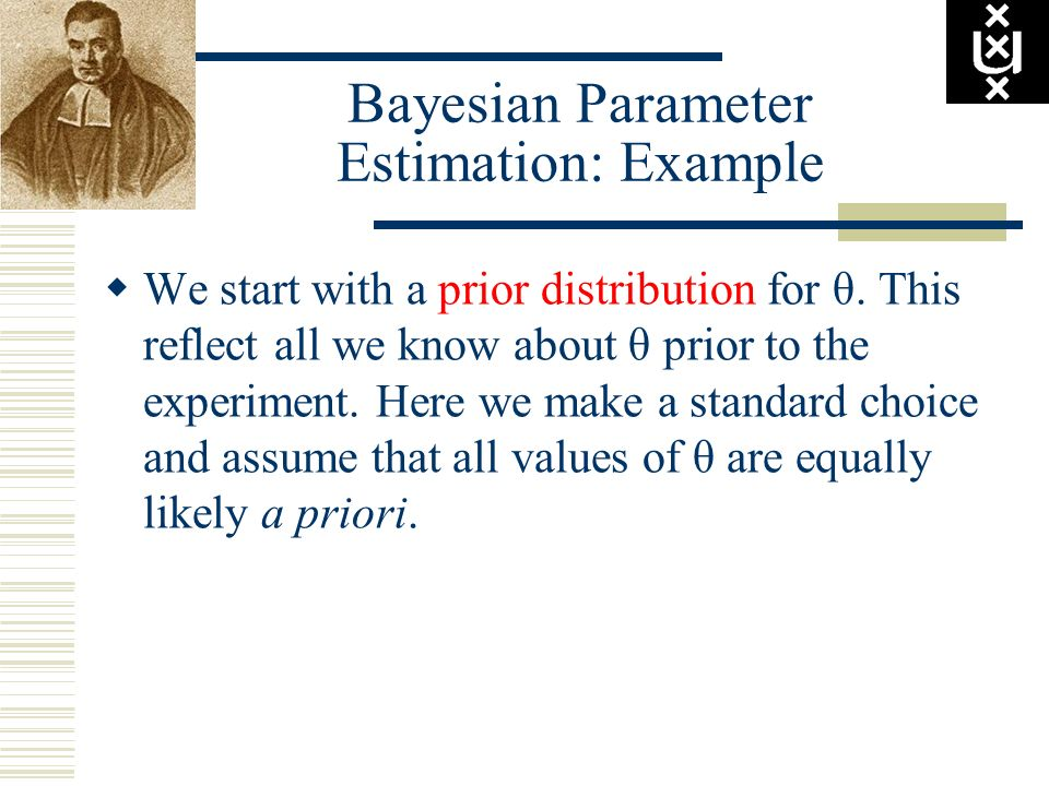 Bayesian Parameter Estimation: Example We start with a prior distribution for θ. This reflect all we know about θ prior to the experiment. Here we mak