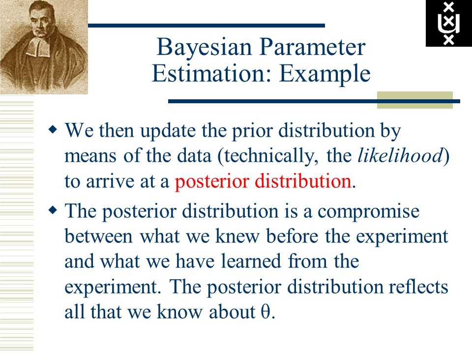 Bayesian Parameter Estimation: Example We then update the prior distribution by means of the data (technically, the likelihood) to arrive at a posteri