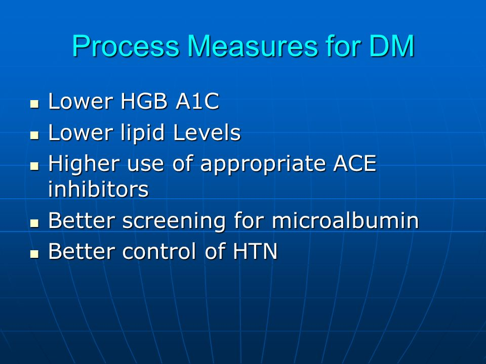 Process Measures for DM Lower HGB A1C Lower HGB A1C Lower lipid Levels Lower lipid Levels Higher use of appropriate ACE inhibitors Higher use of appropriate ACE inhibitors Better screening for microalbumin Better screening for microalbumin Better control of HTN Better control of HTN