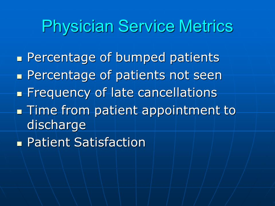 Physician Service Metrics Percentage of bumped patients Percentage of bumped patients Percentage of patients not seen Percentage of patients not seen Frequency of late cancellations Frequency of late cancellations Time from patient appointment to discharge Time from patient appointment to discharge Patient Satisfaction Patient Satisfaction