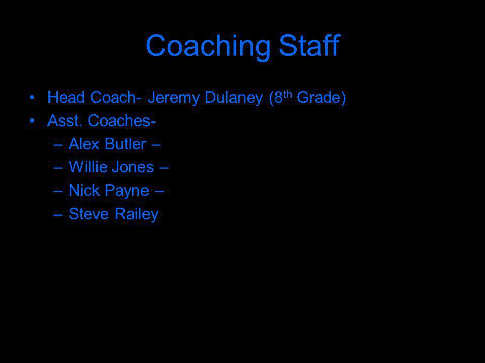 Coaching Staff Head Coach- Jeremy Dulaney (8 th Grade) Asst.