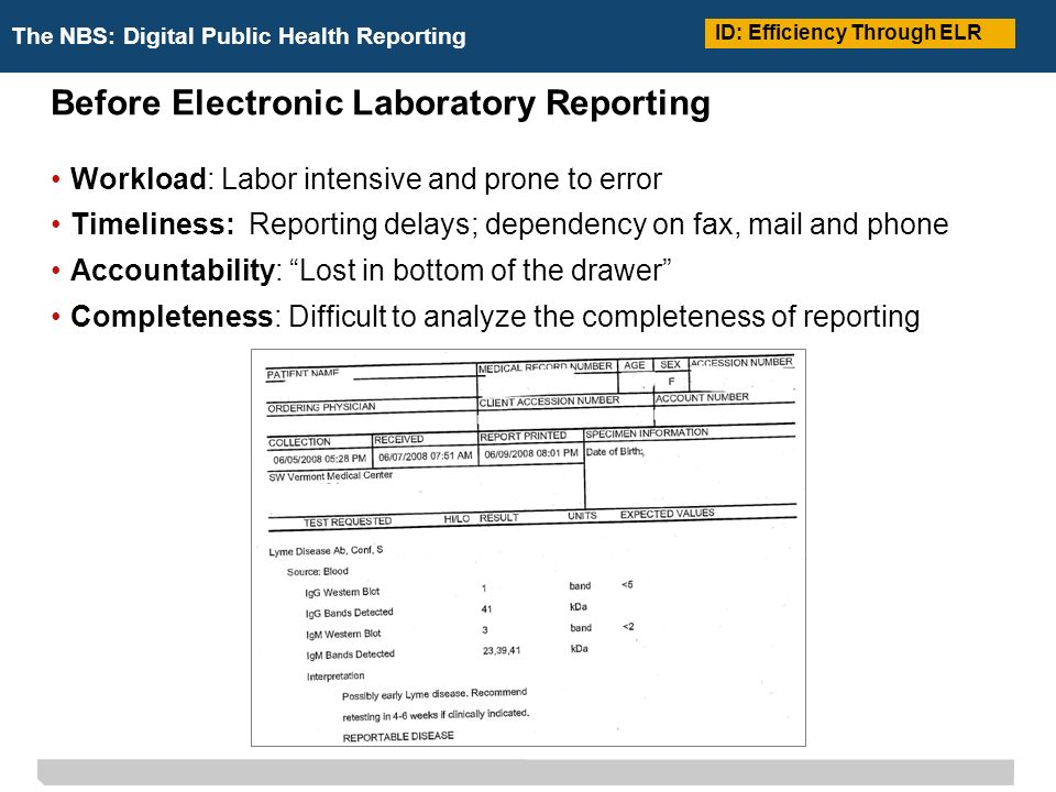 The NBS: Digital Public Health Reporting Before Electronic Laboratory Reporting Workload: Labor intensive and prone to error Timeliness: Reporting delays; dependency on fax, mail and phone Accountability: Lost in bottom of the drawer Completeness: Difficult to analyze the completeness of reporting ID: Efficiency Through ELR