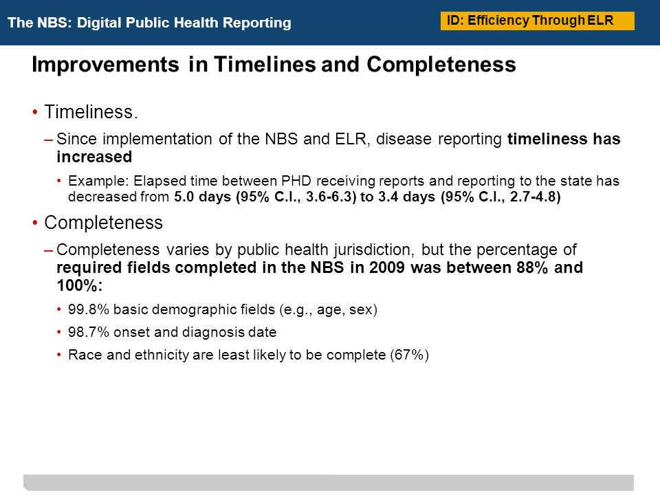 The NBS: Digital Public Health Reporting Improvements in Timelines and Completeness Timeliness.
