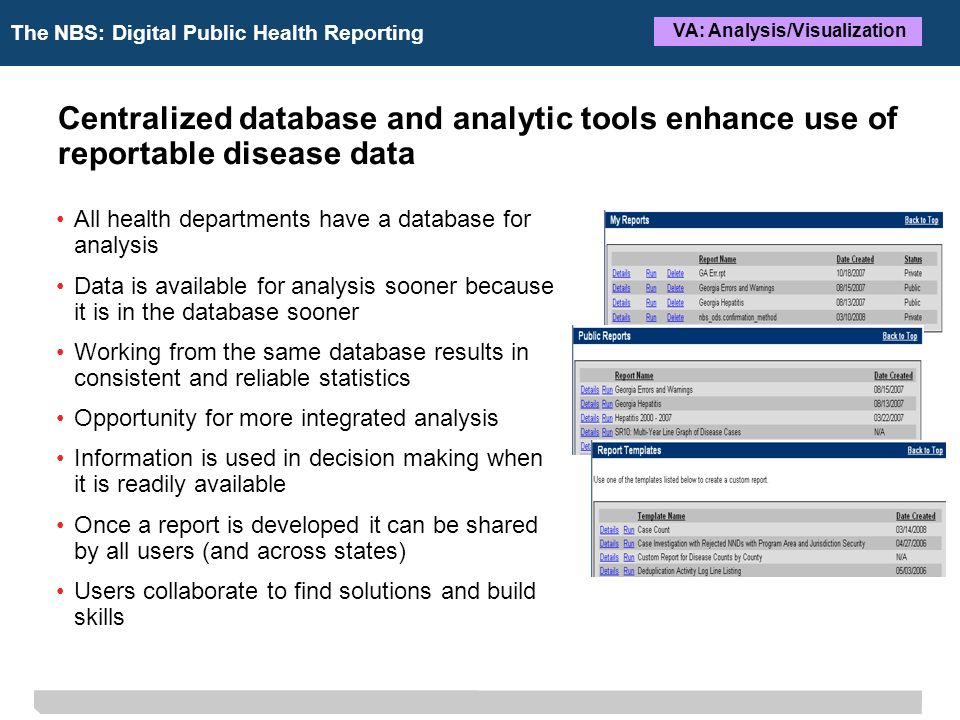 The NBS: Digital Public Health Reporting VA: Analysis/Visualization Centralized database and analytic tools enhance use of reportable disease data All health departments have a database for analysis Data is available for analysis sooner because it is in the database sooner Working from the same database results in consistent and reliable statistics Opportunity for more integrated analysis Information is used in decision making when it is readily available Once a report is developed it can be shared by all users (and across states) Users collaborate to find solutions and build skills