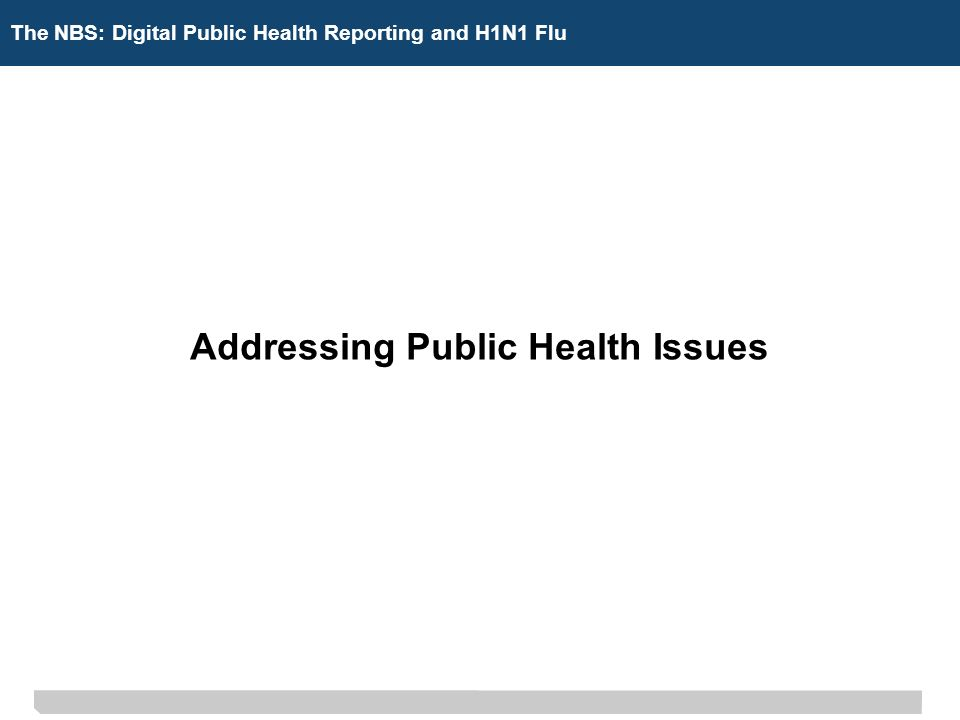 The NBS: Digital Public Health Reporting Addressing Public Health Issues The NBS: Digital Public Health Reporting and H1N1 Flu