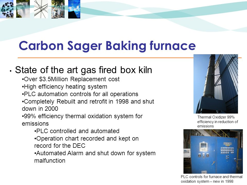 Carbon Sager Baking furnace State of the art gas fired box kiln Over $3.5Million Replacement cost High efficiency heating system PLC automation contro