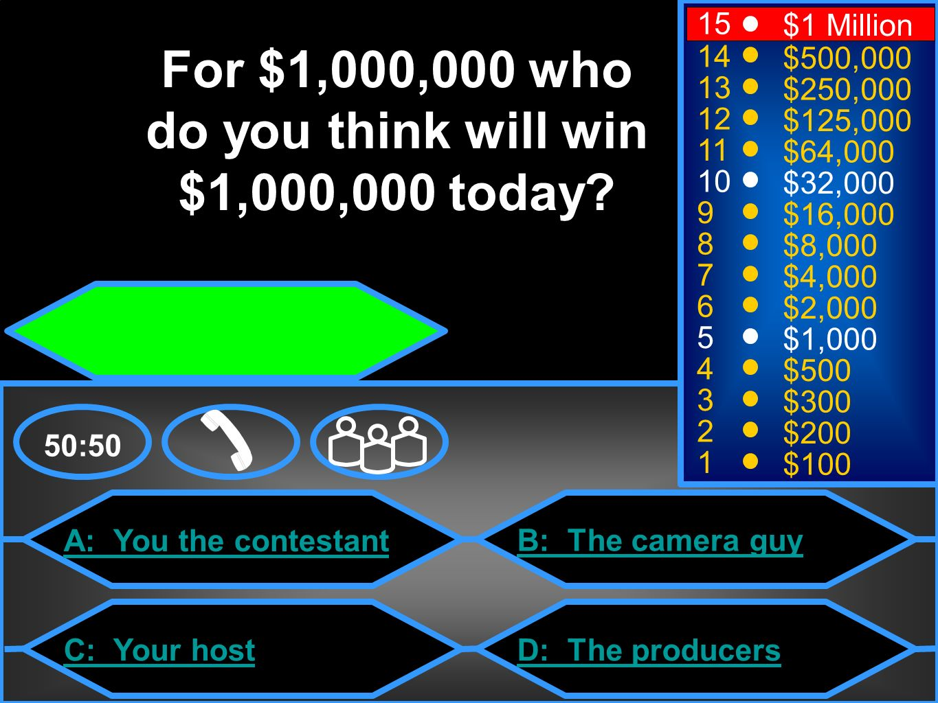 A: You the contestant C: Your host B: The camera guy D: The producers 50:50 15 14 13 12 11 10 9 8 7 6 5 4 3 2 1 $1 Million $500,000 $250,000 $125,000