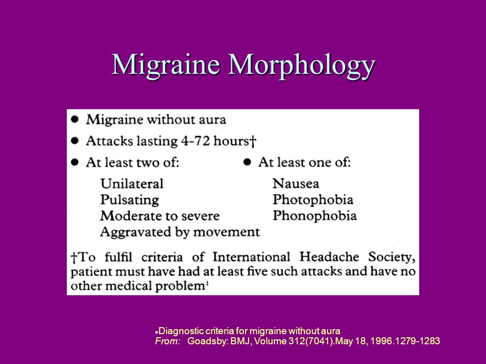Migraine Morphology n Diagnostic criteria for migraine without aura From: Goadsby: BMJ, Volume 312(7041).May 18, 1996.1279-1283