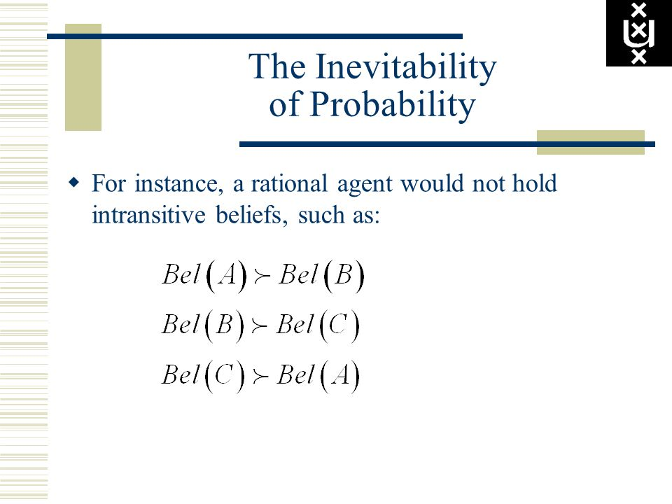 The Inevitability of Probability For instance, a rational agent would not hold intransitive beliefs, such as: