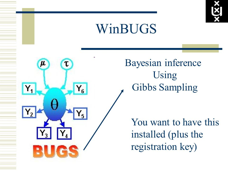 WinBUGS Bayesian inference Using Gibbs Sampling You want to have this installed (plus the registration key)