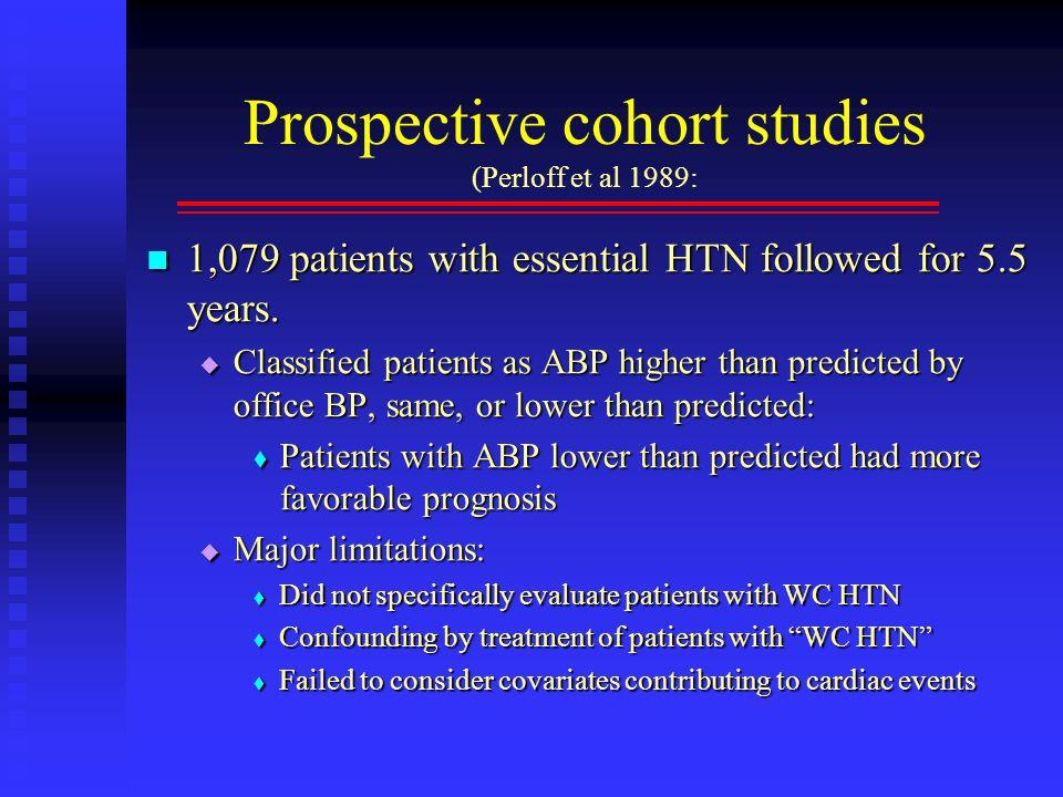 Prospective cohort studies (Perloff et al 1989: 1,079 patients with essential HTN followed for 5.5 years. 1,079 patients with essential HTN followed f