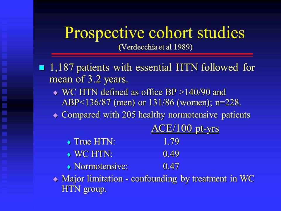 Prospective cohort studies (Verdecchia et al 1989) 1,187 patients with essential HTN followed for mean of 3.2 years. 1,187 patients with essential HTN