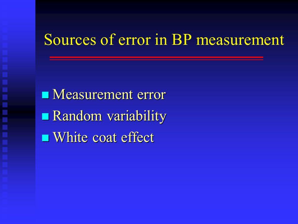 Sources of error in BP measurement Measurement error Measurement error Random variability Random variability White coat effect White coat effect
