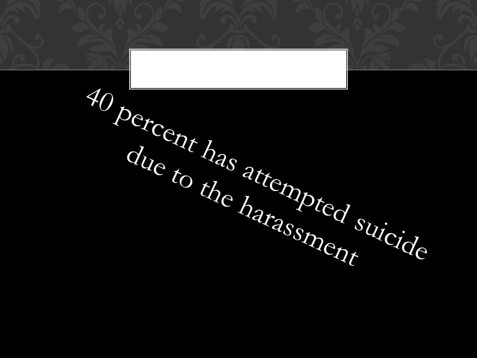 40 percent has attempted suicide due to the harassment